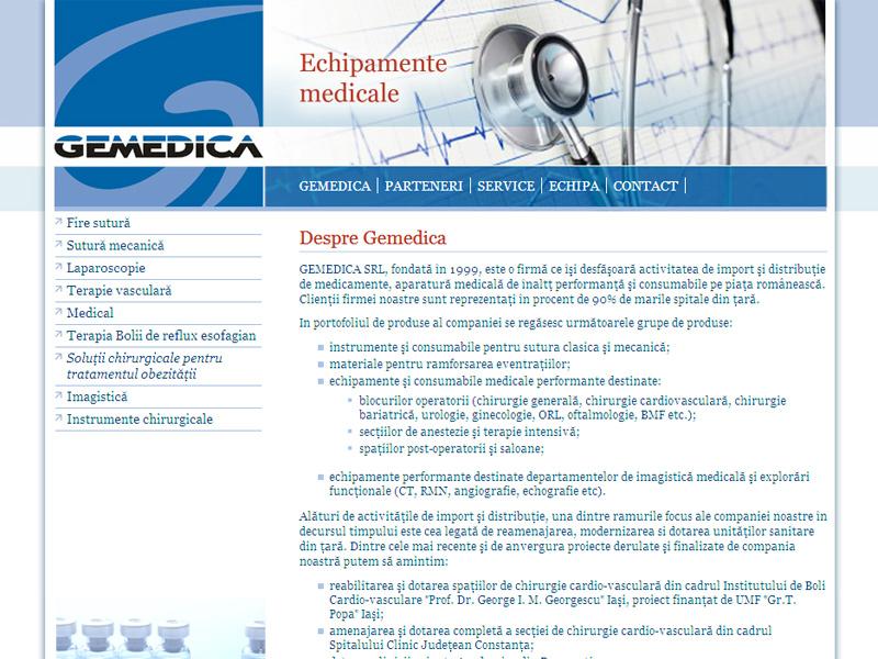 Gemedica - Site de prezentare, Creare site web