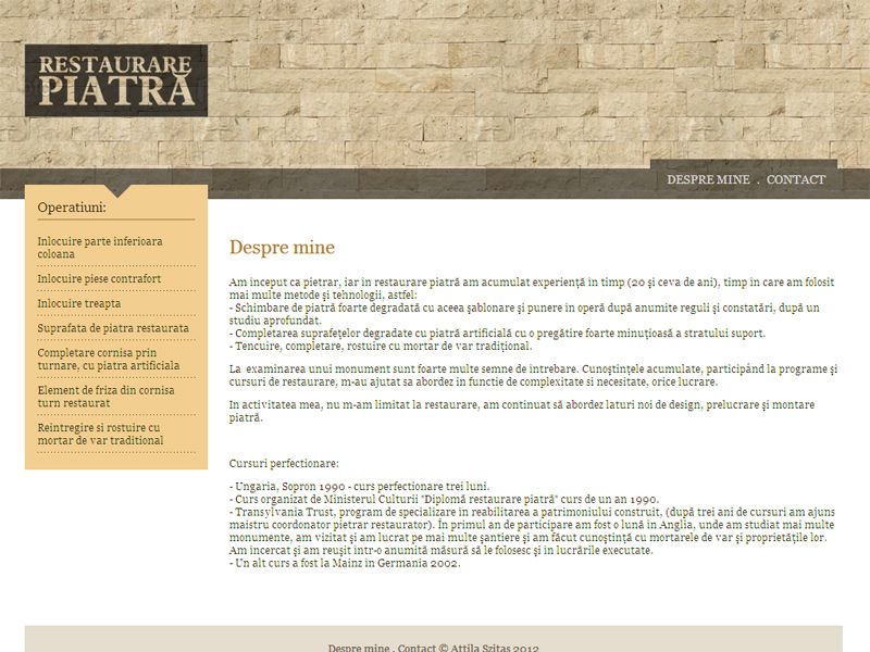 Restaurare Piatră - Site de prezentare, Creare site web