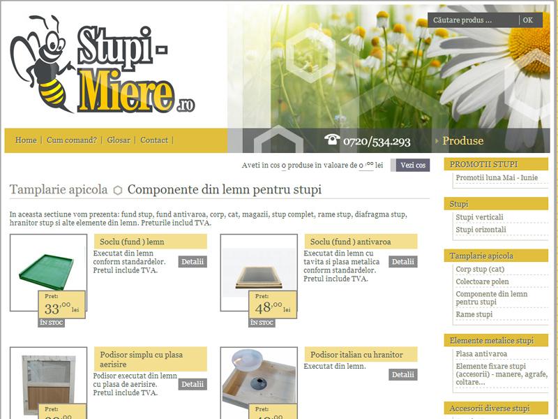 Stupi Miere - Magazin online, Creare site web