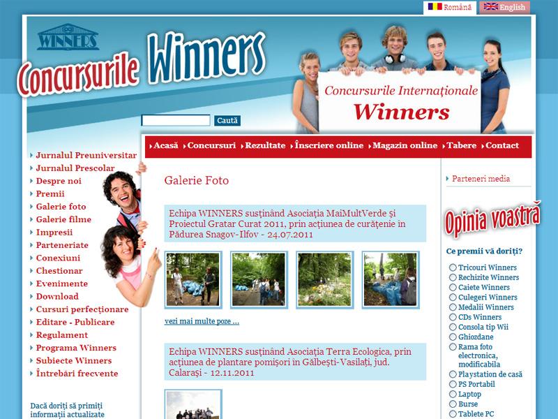 Concursurile Winners - Portal de date, Creare site web