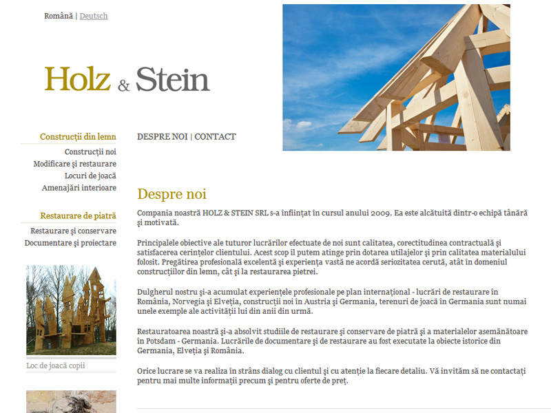Holz & Stein - Site de prezentare, Creare site web