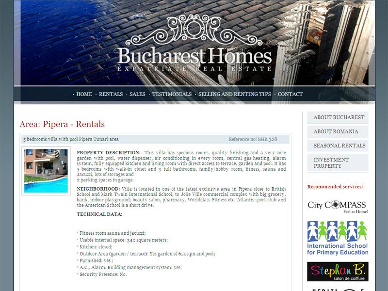 Bucharest Homes Imobiliare - Catalog online, Creare site web