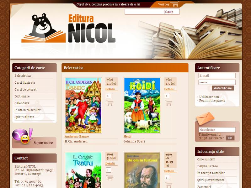 Editura Nicol - Magazin online, Creare site web