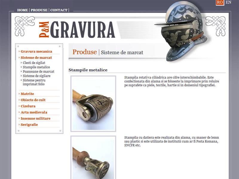 PM Gravura - Catalog online, Creare site web