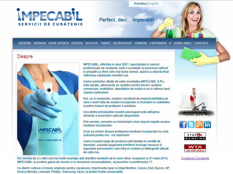 Impecabil - Servicii de curăţenie - Catalog online, Creare site web