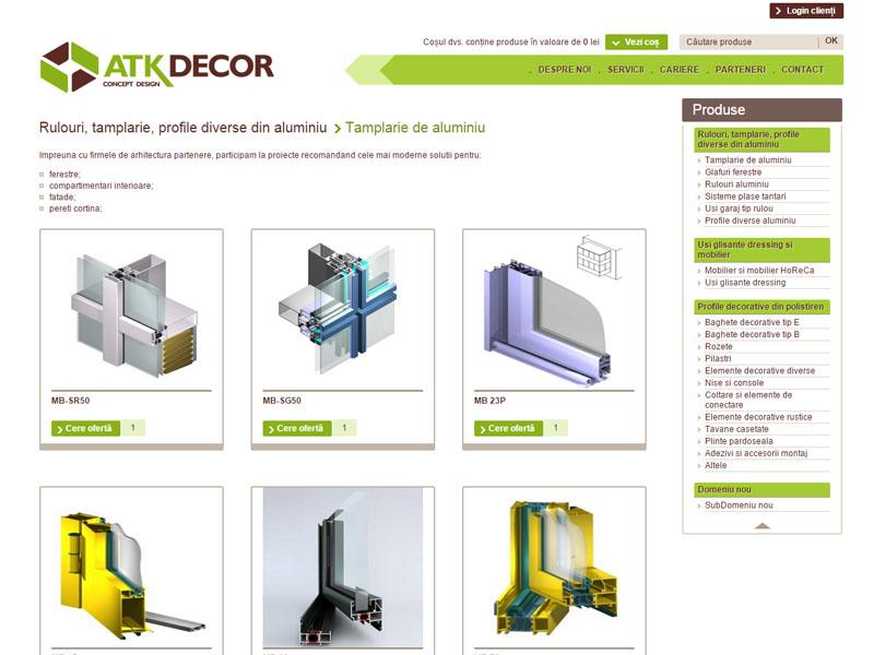 ATK Decor - Magazin online, Creare site web