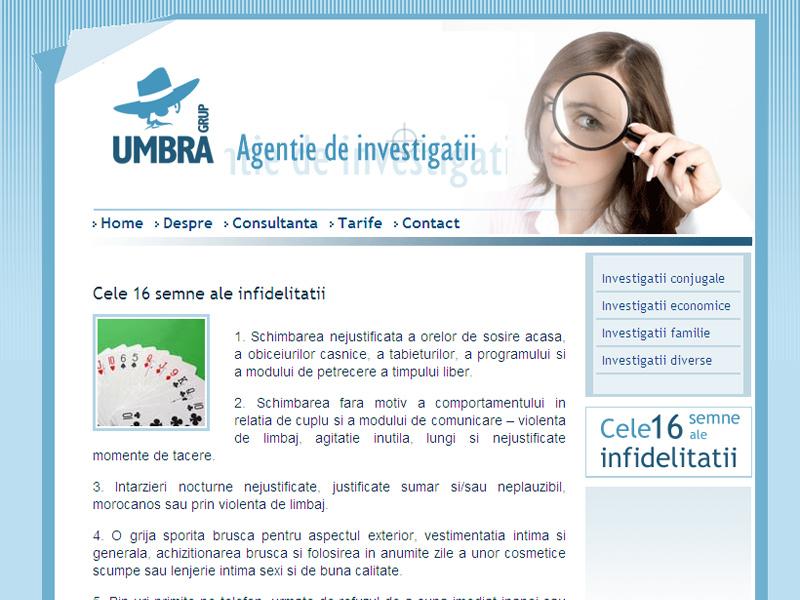 Umbra Grup - Site de prezentare, Creare site web