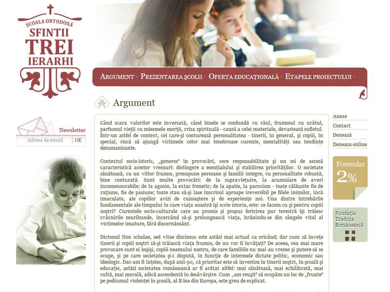 Şcoala Sfinţii Trei Ierarhi - Site de prezentare, Creare site web