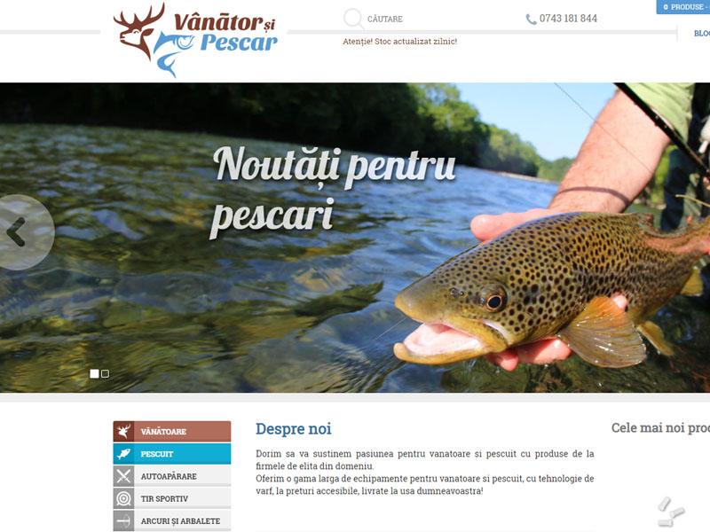 Vanator si Pescar - Magazin online, Creare site web