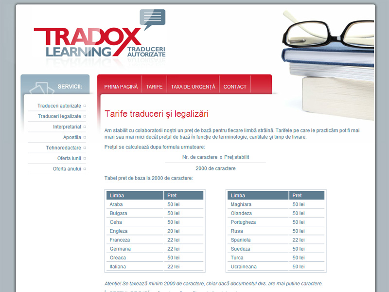 Tradox Traduceri - Site de prezentare, Creare site web