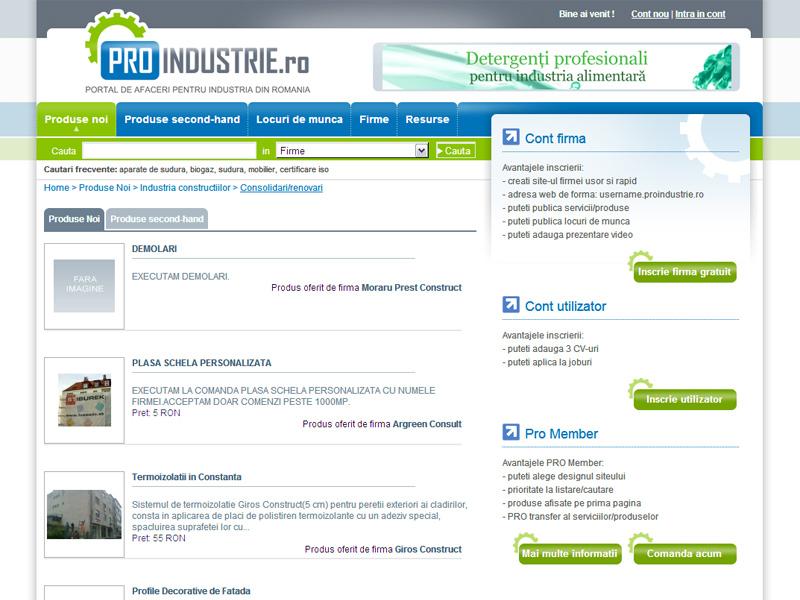 Proindustrie - Portal de date, Creare site web