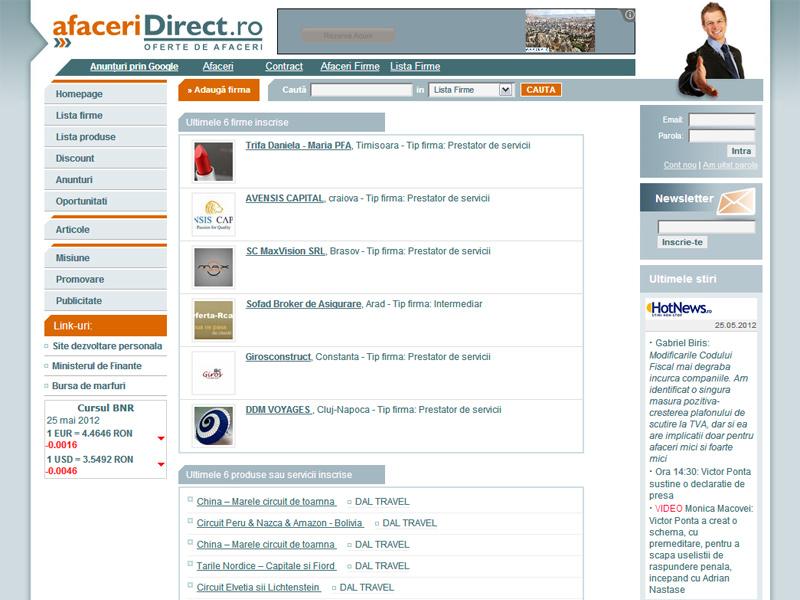 Afaceridirect - portal de afaceri - Portal de date, Creare site web