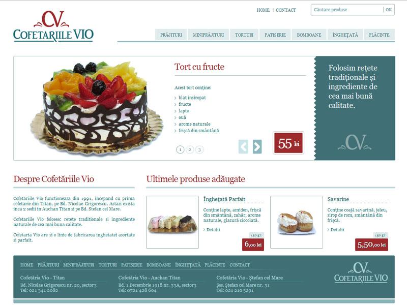 Cofetăriile Vio Titan - Catalog online, Creare site web