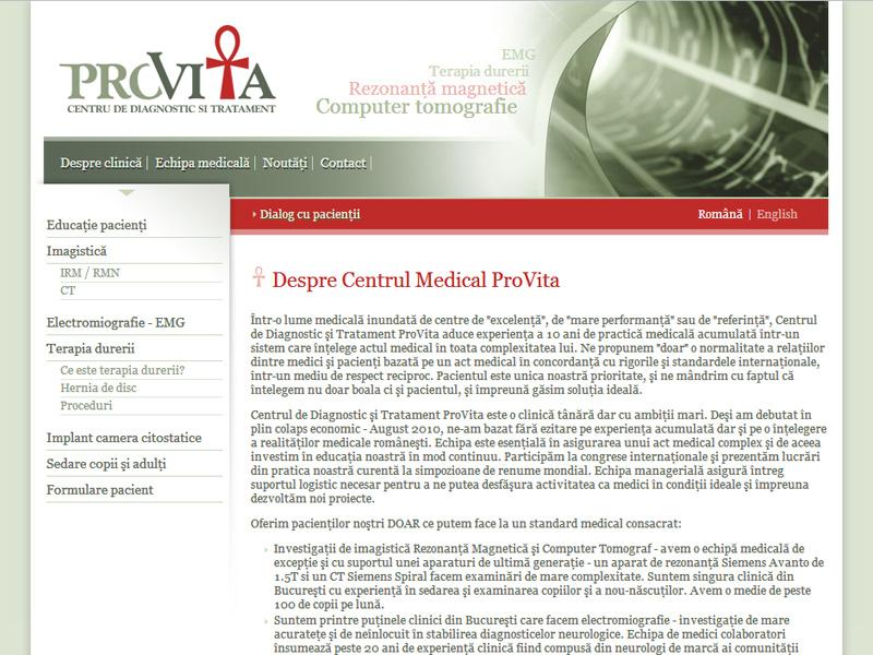 Centrul Provita - Site de prezentare, Creare site web