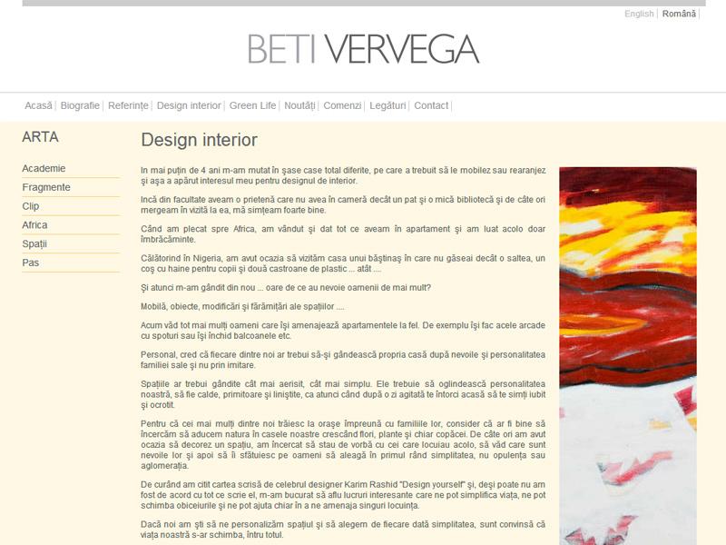 Beti Vervega - Site personal, Creare site web