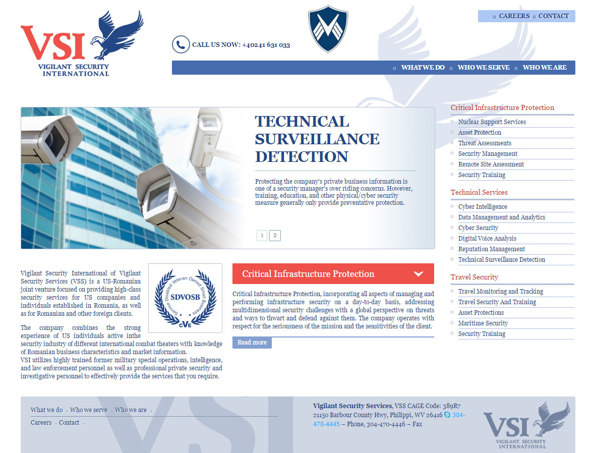 VSI Security - Site de prezentare, Creare site web