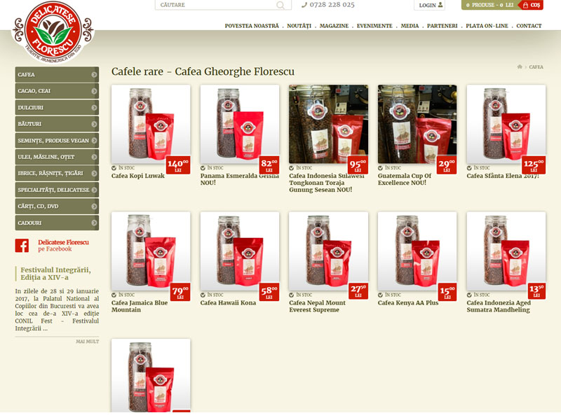 Delicatese Florescu - Magazin online, Creare site web