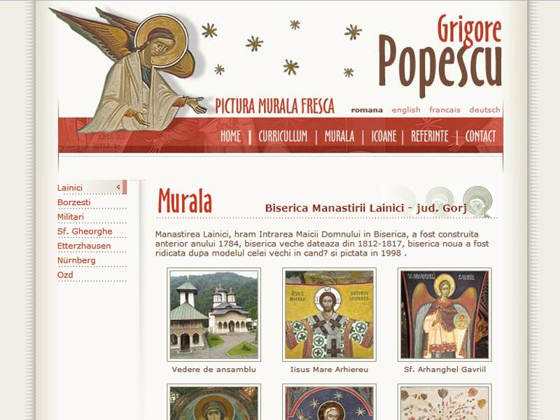 Grigore Popescu - pictura murală - Site personal, Creare site web