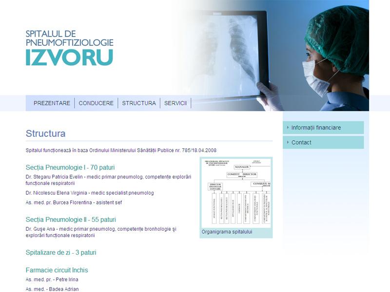 Spitalul de Pneumoftiziologie Izvoru - Site de prezentare, Creare site web