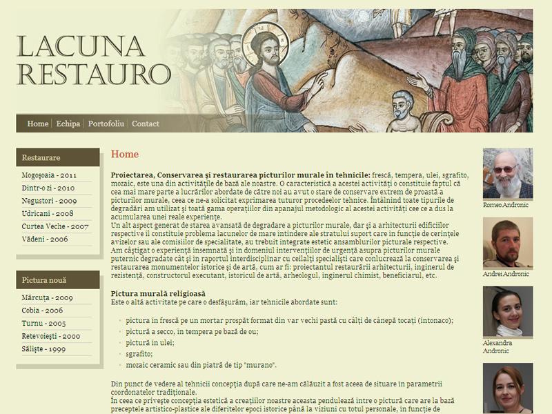 Lacuna Restauro - Site de prezentare, Creare site web