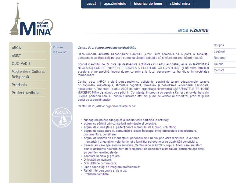 Asociaţia Sf. Mina - Site de prezentare, Creare site web