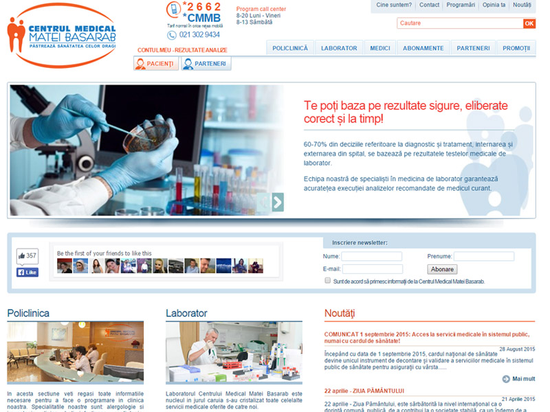 Centrul Medical Matei Basarab - Site de prezentare, Creare site web