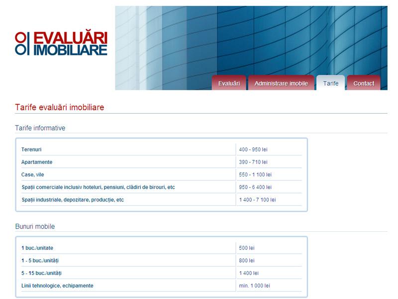 Evaluări Imobiliare - Site de prezentare, Creare site web