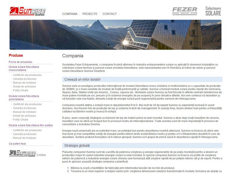 Sunrise Solartech - Site de prezentare, Creare site web