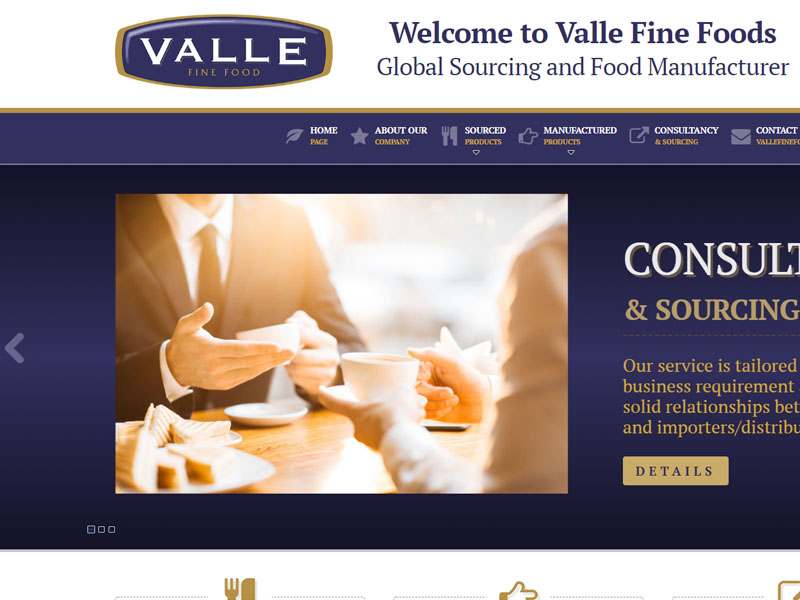 Valle Fine Foods - Catalog online, Creare site web
