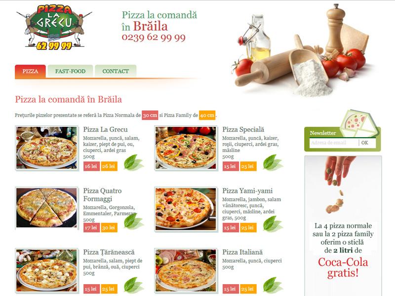 Pizza La Grecu Braila - Catalog online, Creare site web