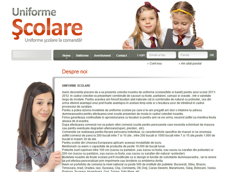 Uniforme scolare - Catalog online, Creare site web