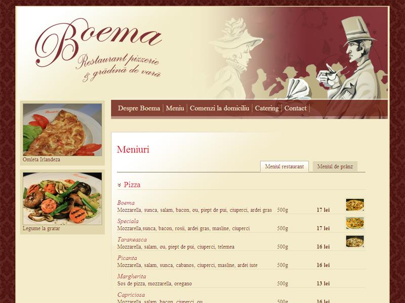 Restaurantul Boema din Brăila - Site de prezentare, Creare site web
